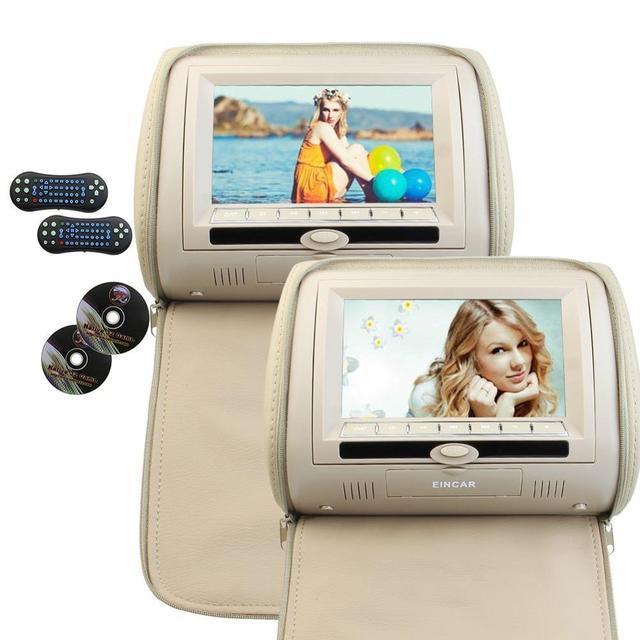 Zwei Auto Kissen Kopfstütze DVD Player Schwarz Grau Beige Universal Digital  Bildschirm Reißverschluss Automonitor USB