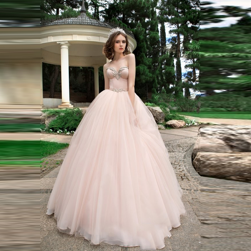 Pretty Pearl Pink Tulle Bridal Dresses 2017 Princess Vintage Wedding Gowns Beaded Crystal Ball Sweetheart Simple Casamento In From