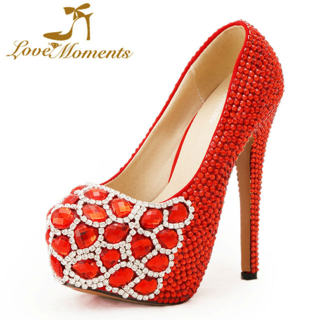 Love Moments Shoes Woman Red Crystal Wedding Rhinestone Las Platform High Heels