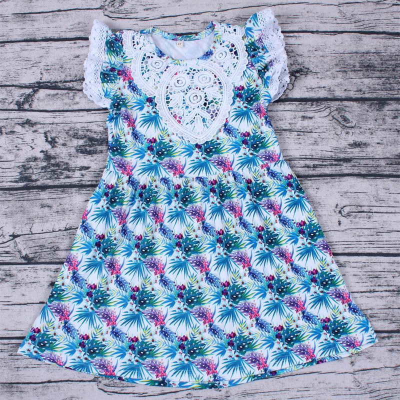 Hot Sale Summer Girl Dresses Leaf Printed With Lace Children Clothing Costume Kid's Party Dress Baby Girls Clothes