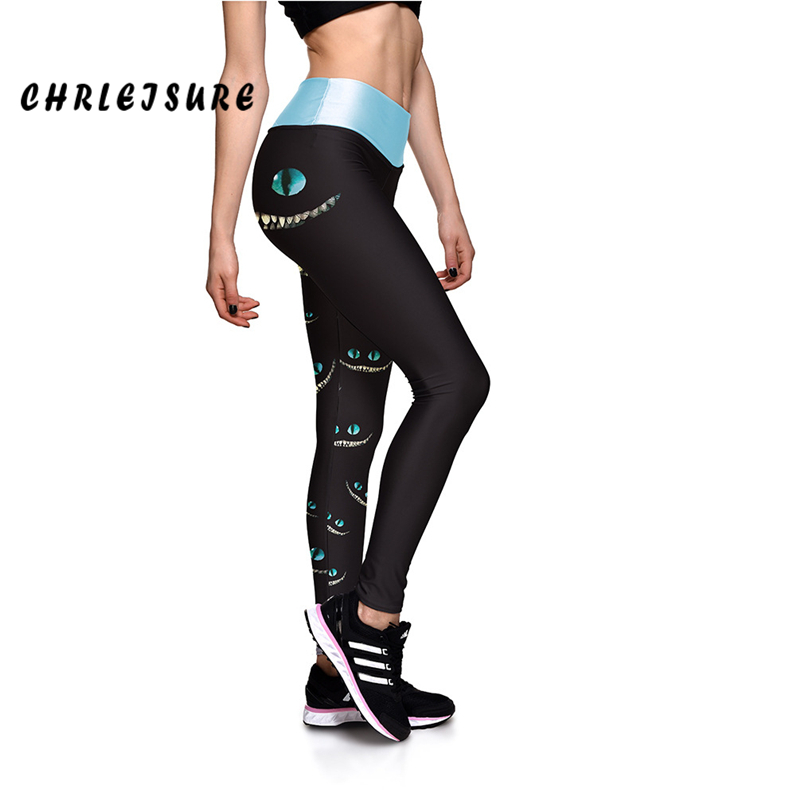 CHRLEISURE Monster Face Green Eyes Women Fitness   Leggings   High Elastic Waist Pants Trousers New Arrival Black 3D Print Leggins