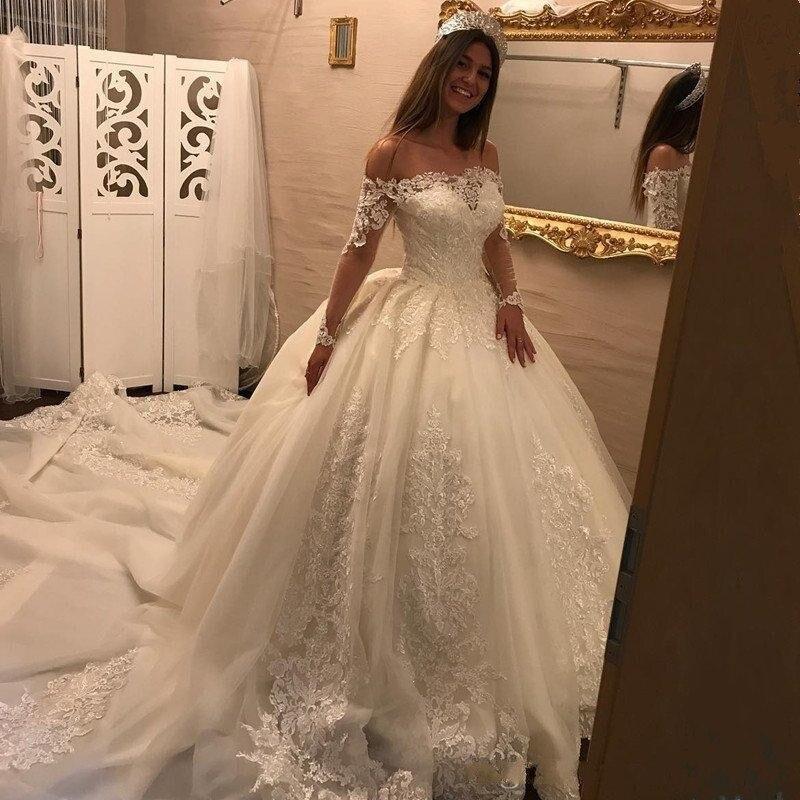 Dubaï robes de mariée robe de bal Applique balayage Train grande taille robes de mariée manches à lacets magnifique