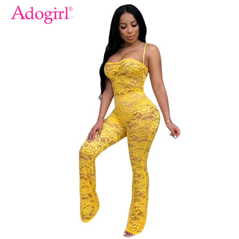 Adogirl Women Sexy Sheer Lace Crochet Jumpsuit Solid 4 Colors Spaghetti Straps Strapless Night Club Romper Without Headband