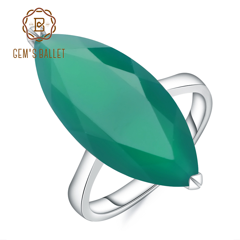 Gem's Ballet 11.45Ct Marquise Natural Green Agate Gemstone Ring 925 Sterling Silver Cocktail Rings For Woman Fine Jewelry