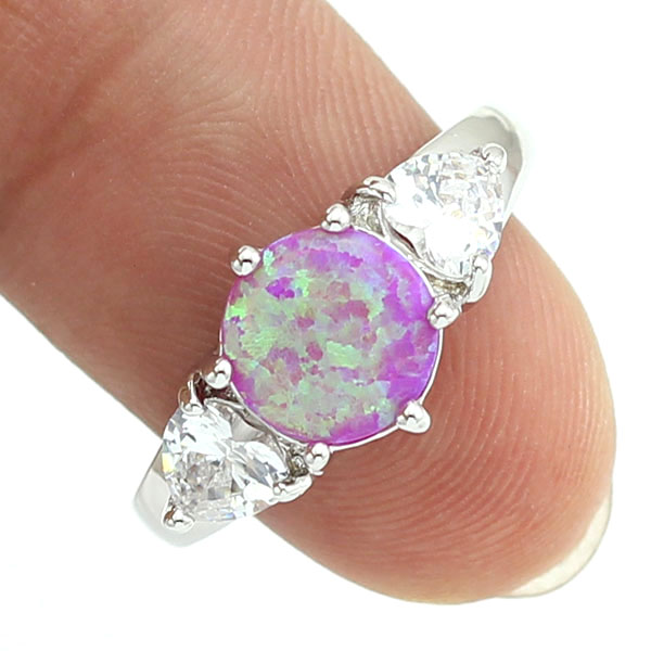 f8263f71ff HAIMIS Pink Fire Opal CZ Women Claw Inay Fashion Jewelry Opal Ring Size 6.5  8.5 43P-in Rings from Jewelry   Accessories on Aliexpress.com