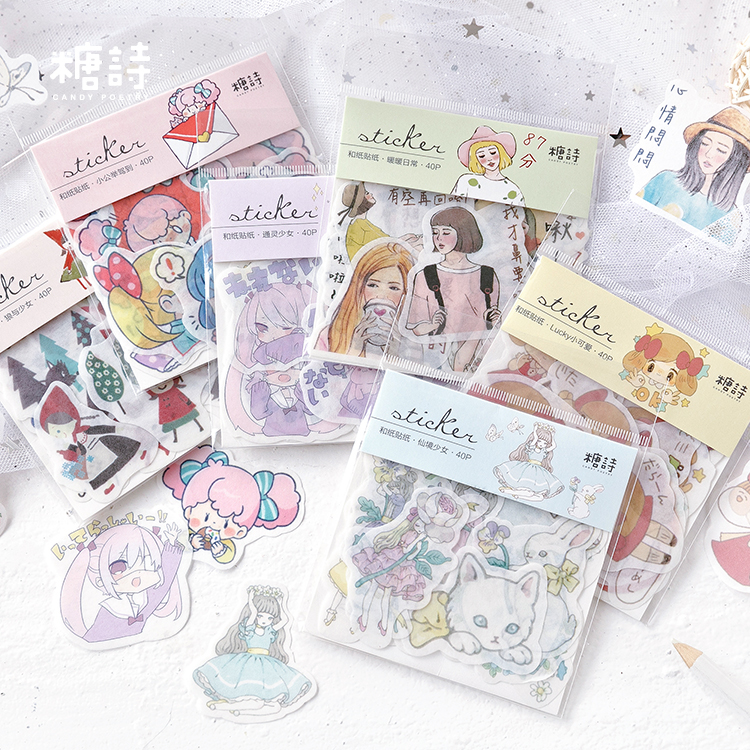 Kawaii Wonderland Girl Decorative Washi Stickers Scrapbooking Stick Label Diary Stationery Album Stickers