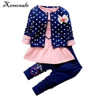 Xemonale Kids Spring 2016 New Korean Wave Point Clothing Set Baby Girls Cute Cotton Clothes Suit