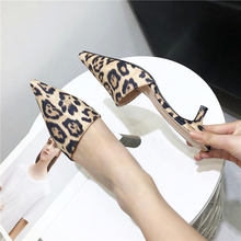 Liren 2019 Summer Lady Fashion Leopord Pointed Toe High Heels Slippers Shallow Thin Sandals Sexy Women