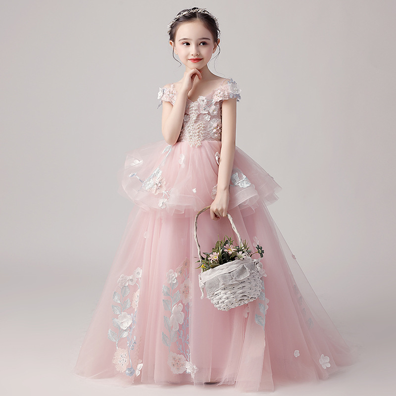 Luxury Holy Communion Dress Off the Shoulder Small Trailing Evening Dress Appliques Pearls Flower Girl Dresses for Wedding B422