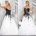 2016 Preto e Branco vestido de Baile Vestidos de Baile Sexy Querida Lantejoulas Applique Pétalas de Flores de Organza Vestidos de Formatura