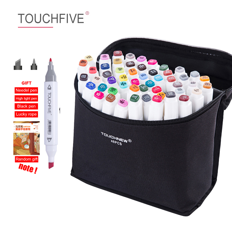 TOUCHFIVE Markers Pen Set 30/40/60/80/168 Color Animation Sketch Drawing AlcoholColor Marker (White Manga Pen)