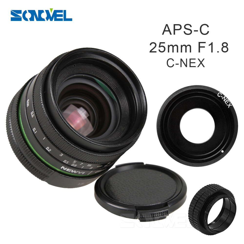 25mm F1.8 APS-C  Manual Camera Lens+C Mount Adapter+Macro Rings Kit for Sony E Mount NEX 3N 5 5R 6 7 A6300 A6000 A5100 A5000