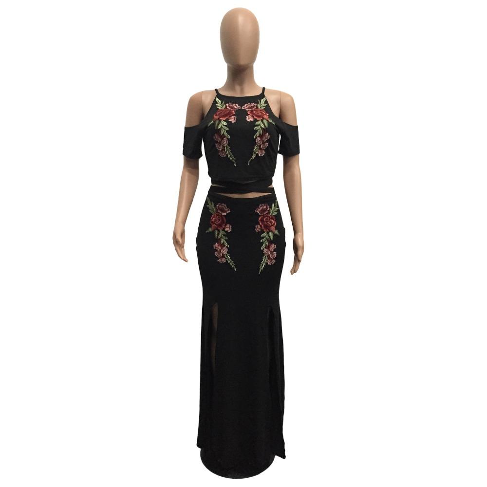 ce63db1a273b Women Floral Embroidery Maxi Skirt Suit Women Sexy Crop Top and High Waist  Skirt 2 Piece Set High Split Summer Long Skirt Set
