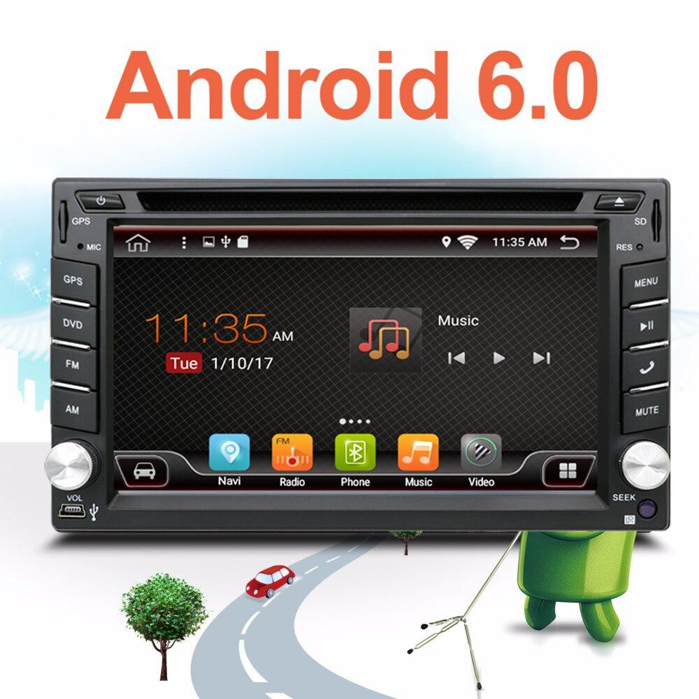 imágenes para Auto 2 Din Pure Android 6.0 Del Coche Reproductor de DVD de Navegación Estéreo la Radio del GPS WiFi 3G de la Pantalla Táctil CAPACITIVA USB Cámara de la PC Del Coche TV