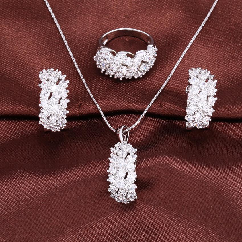 ZHE FAN Women Jewelry Sets White Champagne AAA Cubic Zirconia Fashion Earrings Necklace Ring Random Chain Set For Lady Jewellery