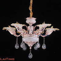 2016 New European Metal Plated In Rose Gold Chandelier With Lace Glass Lampshade Interior Decoration
