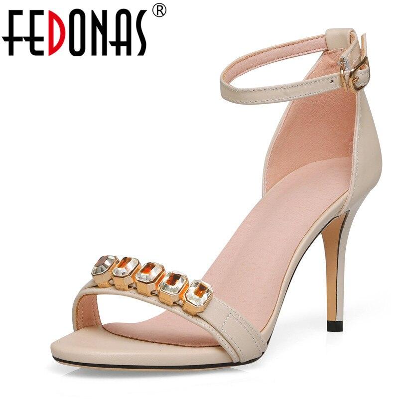 FEDONAS été sandales de mariage pour femmes Top qualité en cuir véritable talons minces mode élégante couverture talon sandales chaussures femme