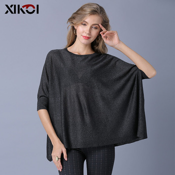 XIKOI Fashion Women Knitted Sweaters Oversize Casual Short Pullover Loose Shirt Sweater Solid Half Batwing Sleeve Pullovers