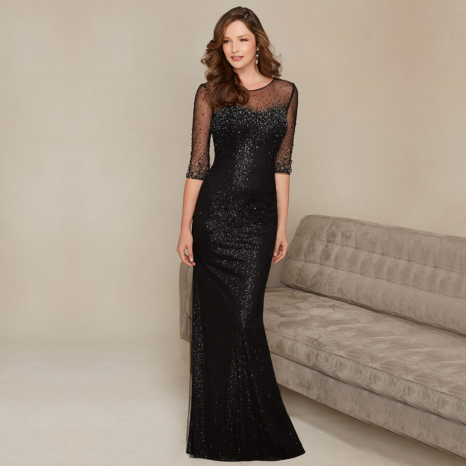 Fashionable Beaded Sequins Floor Length Formal font b Dress b font Gowns Glamorous See Through Half