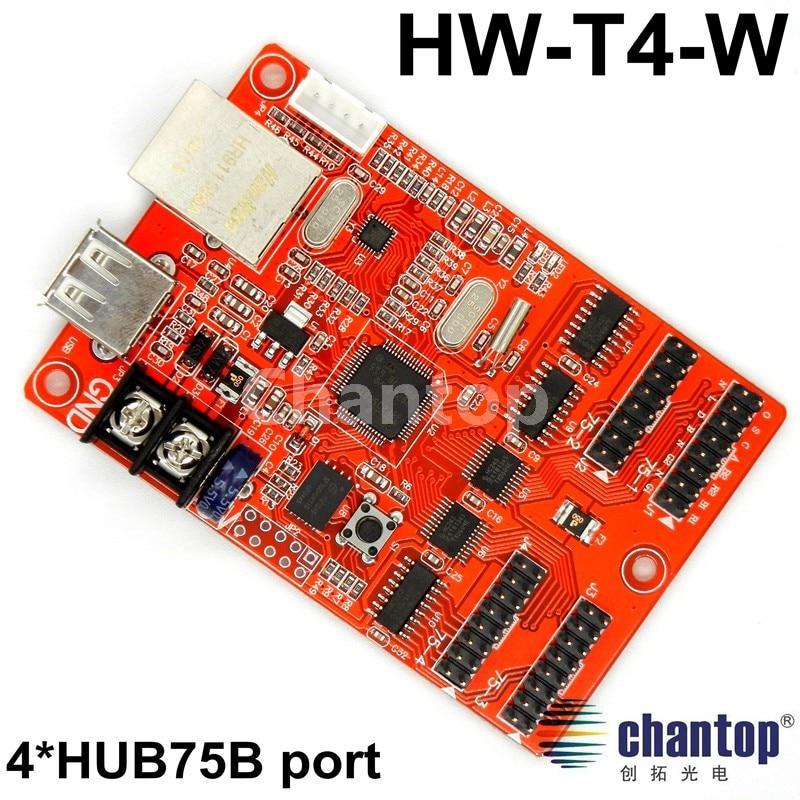 ФОТО HW-T4-W USB/network Async full color led control card 512*16,128*64 pixels RGB display led sign controller with 4*hub75port
