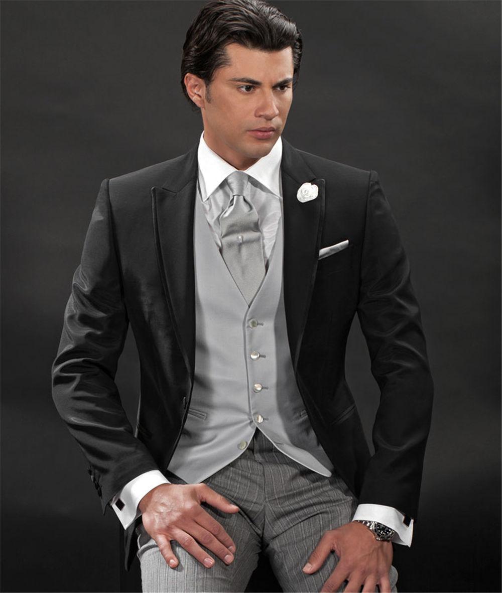 Online Shop Latest 2017 Black Suit For Men Peaked Lapel One Button ...