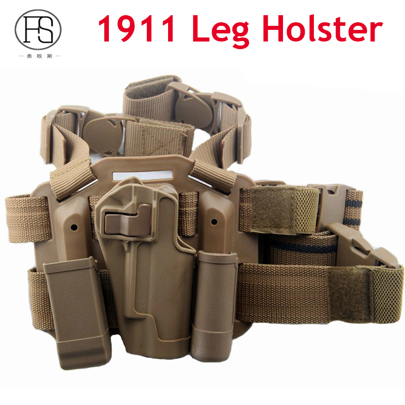 Tactical Colt 1911 Holster Hand Gun Coldre Pistola 1911 Hunting Gun Leg Holster With Magazine Pouch And Flashlight Pouch tactical 1911 leg holster right thigh paddle belt level 3 lock duty pistol gun holster w magazine torch pouch for colt 1911