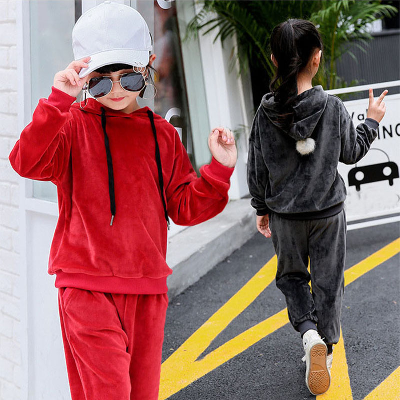 hooded fleece girls clothing sets autumn 2 pieces kids clothes sets sports tracksuits suits red black hoodies tops pants outfits