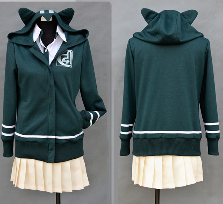 DanganRonpa Dangan-Ronpa Chiaki Nanami Cosplay Costume High Quality Anime Hooded Hoodie Coat+shirt+skirt