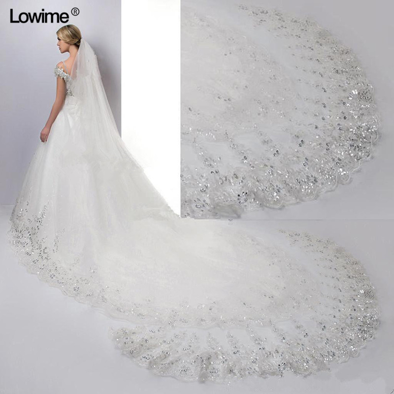 New 2019 Bridal Wedding Veils 3.5 Meters Cathedral Wedding Veil Long Lace Edge Bridal Veil Comb Wedding Accessories Wholesale