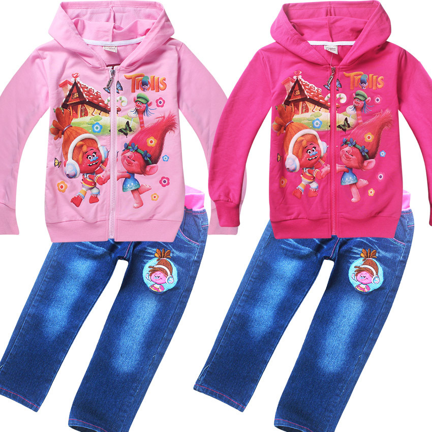2018 New Spring Autumn Kids Trolls Clothes Girls Clothing Set 2 pcs long sleeves hoodies + jeans sets Children girl Sports Suits girls suit 2017 autumn children s clothing smile pattern sports set big kids girl bat long sleeve 2 pcs sets black pink clothes