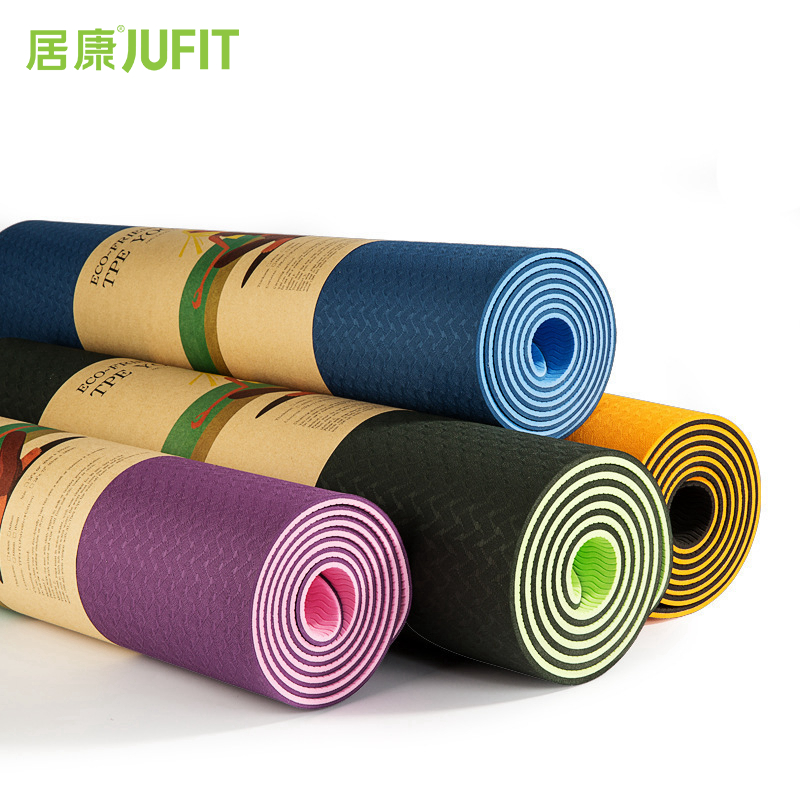 JUFIT 1830 * 610 * 6MM TPE Yoga Mat Dobbeltsidet Farve Motion Sports Mats Til Fitness Gym Environmental Tasteless Pad