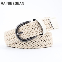 RAINIE SEAN White Women Belt Pu Leather Braided For Buckle Ladies Wasit Casual Belts Jeans