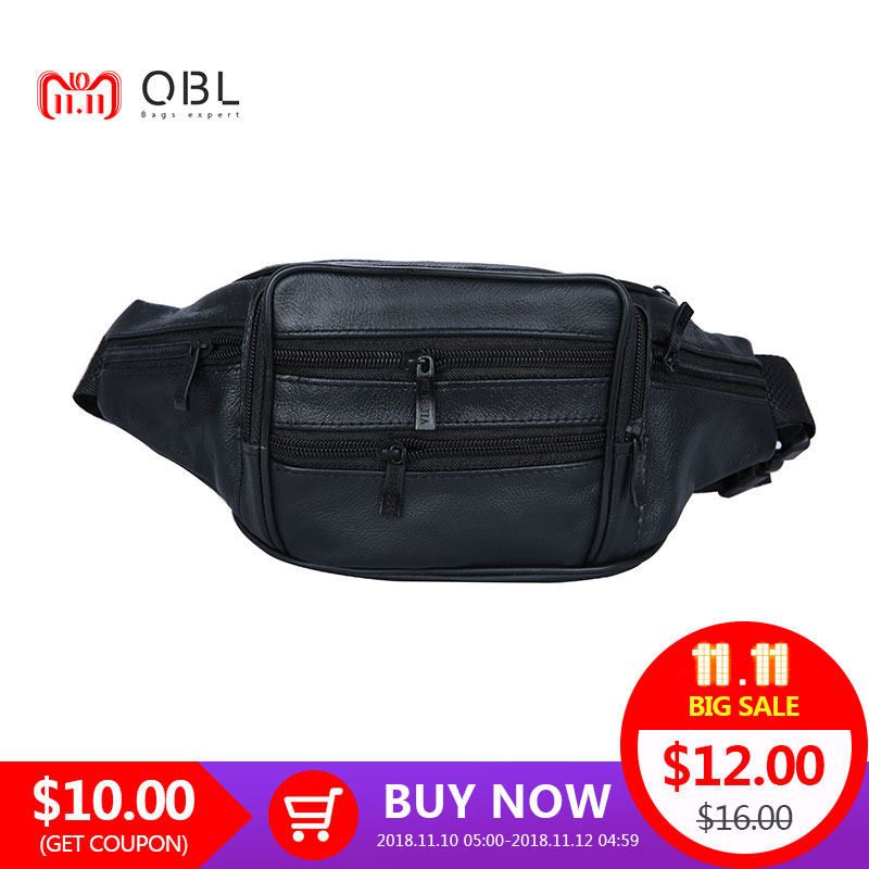 7dd81bbeb274 QiBoLu Genuine Leather Crossbody Bum Bag Men Waist Pack Fanny Travel  Hands-free Pochete Bolso Cintura Homme Borsa MBA22