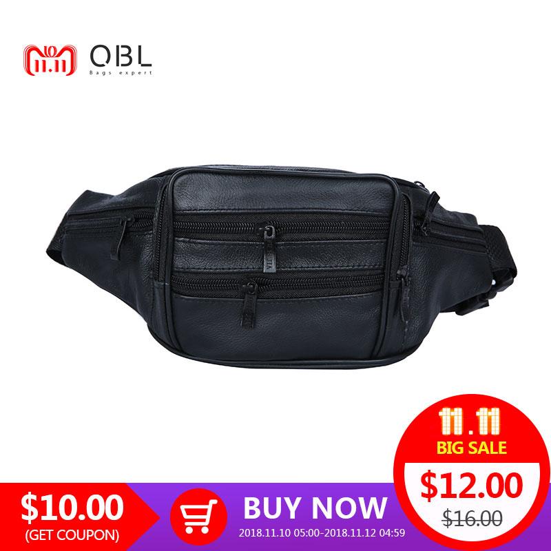 cb1835e70cf8 QiBoLu Genuine Leather Crossbody Bum Bag Men Waist Pack Fanny Travel  Hands-free Pochete Bolso Cintura Homme Borsa MBA22