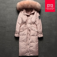 Winter fashion brand good quality big real fur collar duck   down     coat   female zipper stitching hooded warm   down   parkas wq155