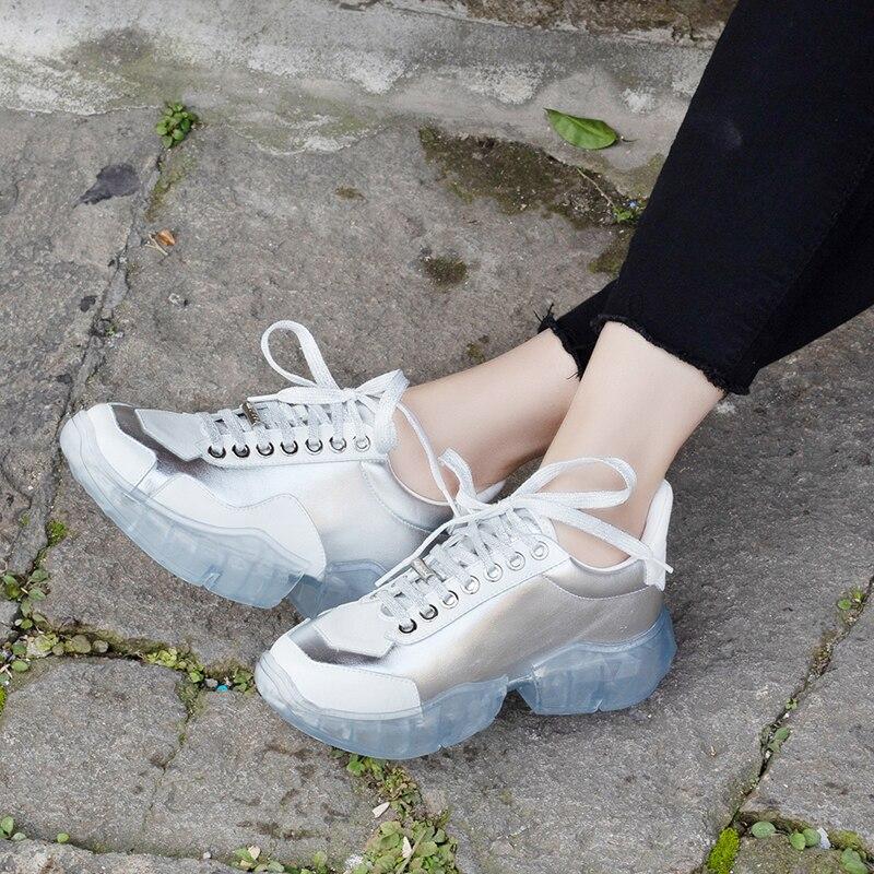 Deporte Chaussures Señoras Femme Las Cuero Jellyfond Mujer Plataforma Mujeres Genuino Papá Blanco Entrenador Vulcanizados De Zapatos Zapatillas awqRZzO