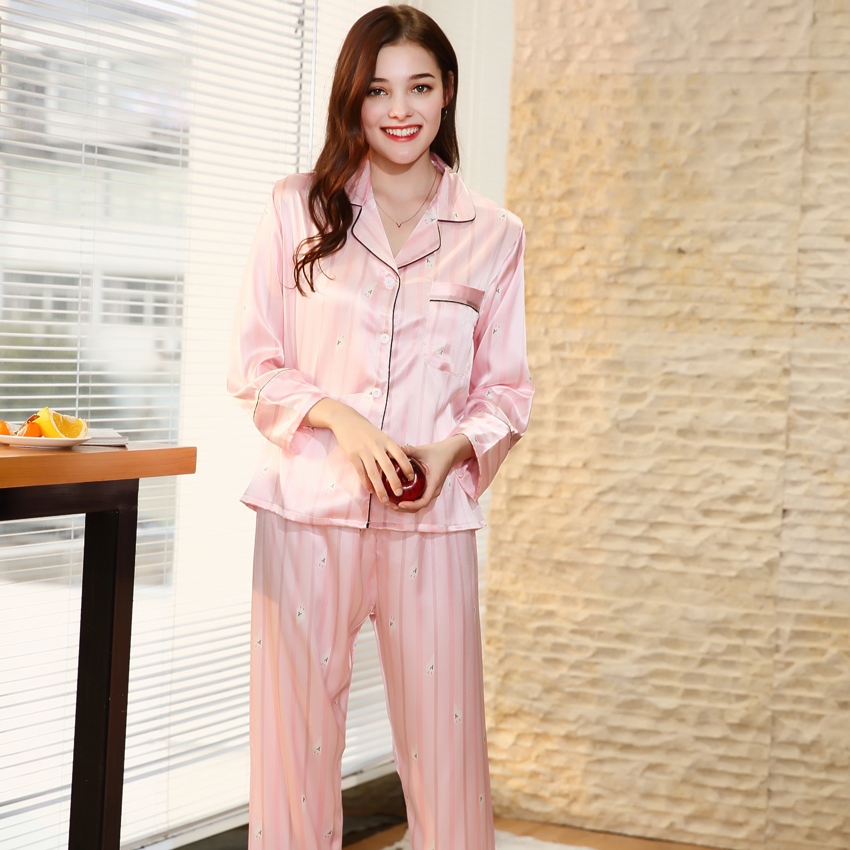 4cf4e47a1e Free Shipping New Spring Women Pajamas 2018 Brand Pajama Set Faux Silk  Ladies Pajamas Pants Sleep Lounge Woman Home Cloth TZ680