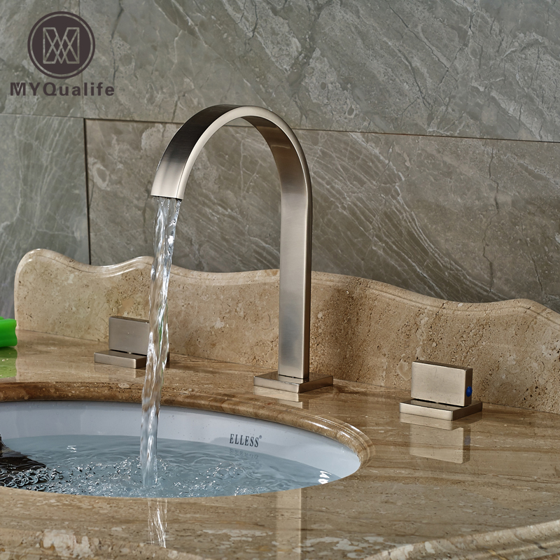 Deck Mounted Brushed Nickel Basin Sink Mixer Faucet Tap Dual Handles 3 Holes with Hot and Cold Water 2016 new nickel brushed dual handles basin mixer faucet deck mount 3 holes bathroom sink hot cold water taps