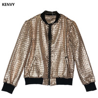 KENVY Brand fashion women's high end luxury autumn slim collar high end hot gold jacket