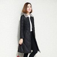Зимняя Новая женская куртка из натуральной кожи, элегантный тонкий пуховик из овечьей кожи, куртка-пуховик из натуральной кожи, норковый ме...