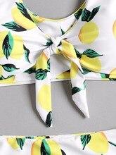 Lemon Print Knot Plus Size Bikini Set
