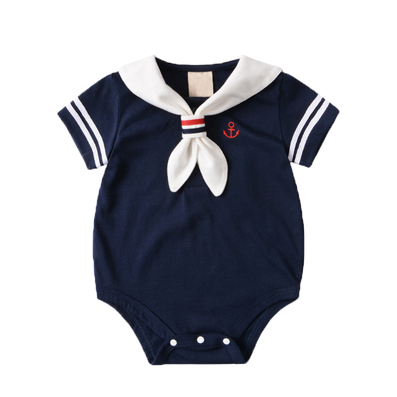 Summer Newborn Baby Clothes Baby Rompers Cotton Baby Girl Clothes Baby Boy Clothes Roupas Bebe Infant Jumpsuits White Navy Style цена