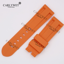 CARLYWET 24mm Wholesale Newest Orange Waterproof Silicone Rubber Replacement Wrist Watch Band Strap Belt for 44mm-47mm