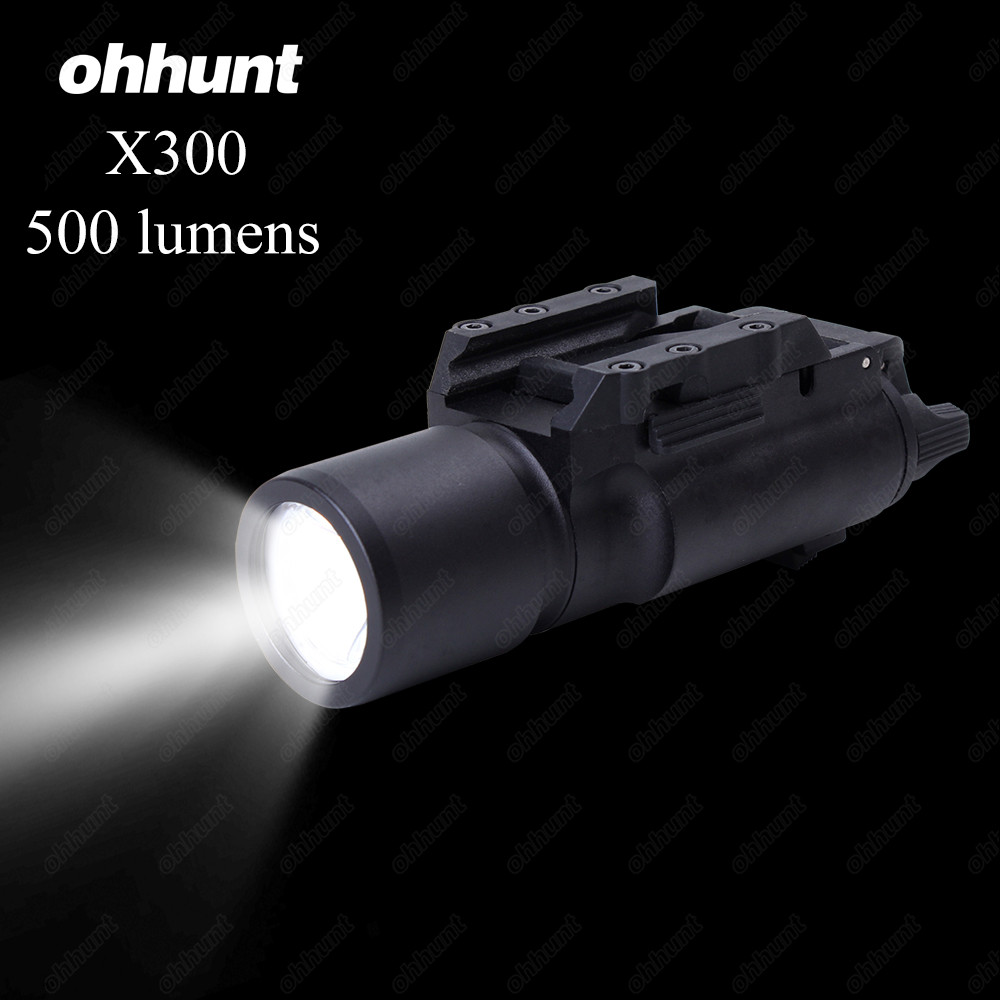 ohhunt Tactical LED Pistol M4 Rifle Flashlight X300 Lanterna Ultra White Light 500 lumens For Hunting Shooting x300 ultra led weapon light for outdoor tactical hunting hunting shooting free shipping