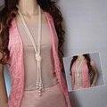 Классическое длинное ожерелье с двойным узлом 125 см, с искусственным жемчугом и кисточками, женское модное ожерелье в стиле бохо, ювелирные ...