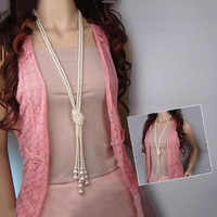 125cm Classic Double Knot Simulated Pearl Tassel Long Necklace Long Knotted Tassel Necklace Female Fashion Sweater Boho Jewelry