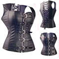 Black Steel Bones Corset Faux Leathert Corsets And Bustiers Overbust Steampunk Corset Burlesque Costumes Corselet + G String TYQ