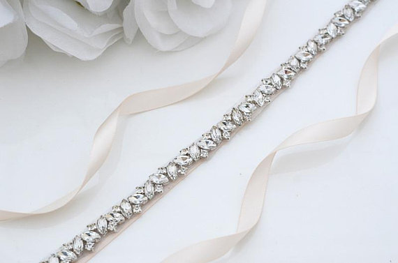 MissRDress Rhinestones Wedding Belt Sash Silver Diamond Crystal Bridal Belt For Wedding Gown Wedding Decoration JK863(China)