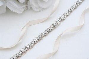 MissRDress الراين حزام ثوب الزفاف شاح الفضة الماس كريستال حزام الزفاف ل ثوب زفاف الزفاف الديكور JK863