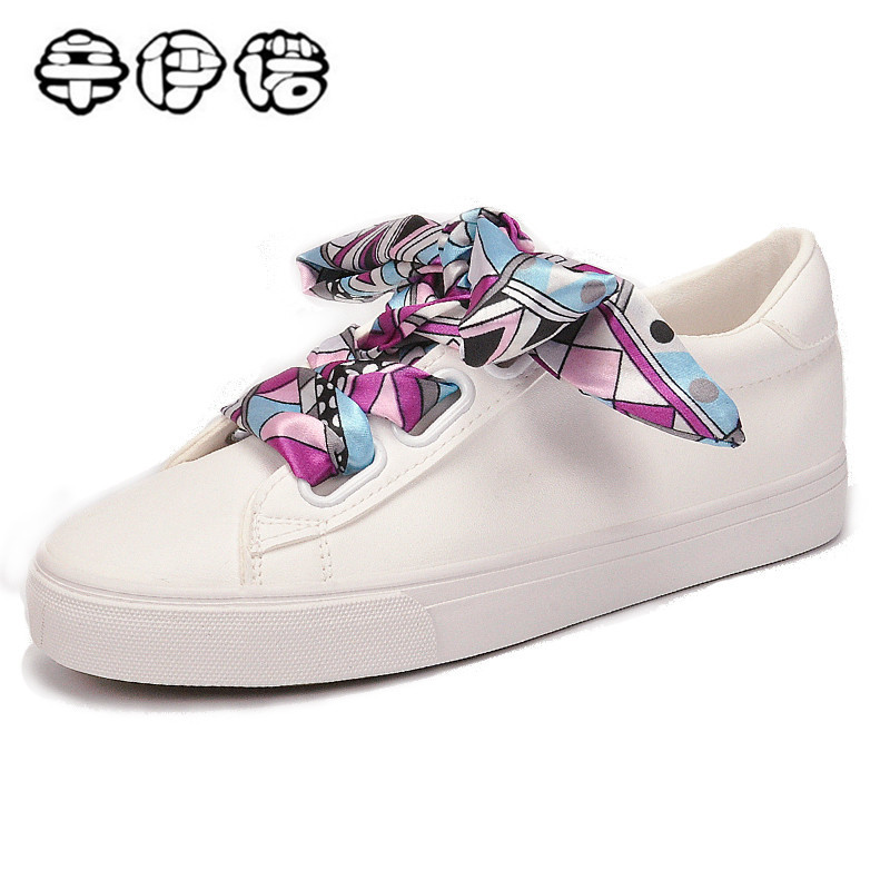 2018 new fashion graffiti ribbon white shoes women casual flat classic student casual lace-up small white shoes sneakers